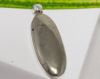 Pyrite Pendant, 925 Sterling Silver Pendant, Genuine Pyrite Gemstone Pendant, Pyrite Necklace, Pyrite Crystal, Pyrite Cabochon, Sale