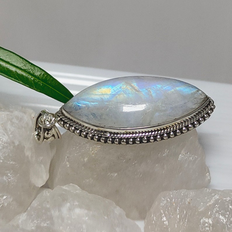 June Birthstone Moonstone Boho Pendant Moonstone Boho Necklace Sale Rainbow Moonstone 925 Silver Pendant Blue Moonstone Necklace