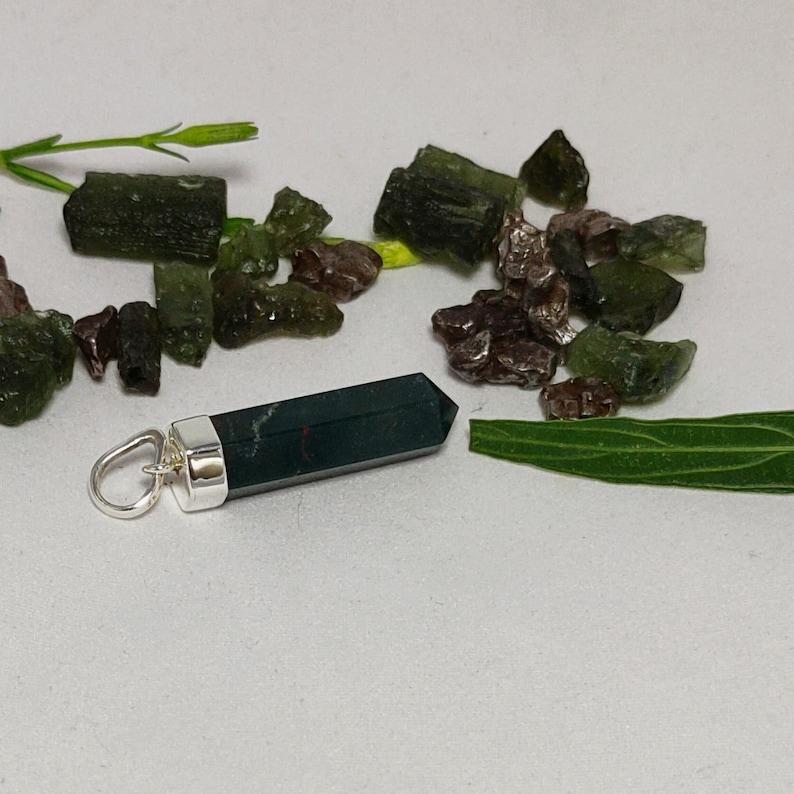 925 Silver Pendant Sale Online Bloodstone Jewelry Genuine Bloodstone Pencil Pendant Bloodstone Necklace Bloodstone Cap Pendant