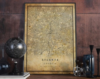 1871 Atlanta Georgia Vintage Old Panoramic City Map 24x32