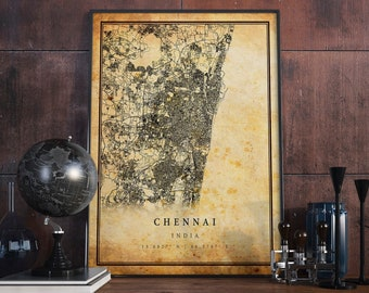 Chennai Map Etsy