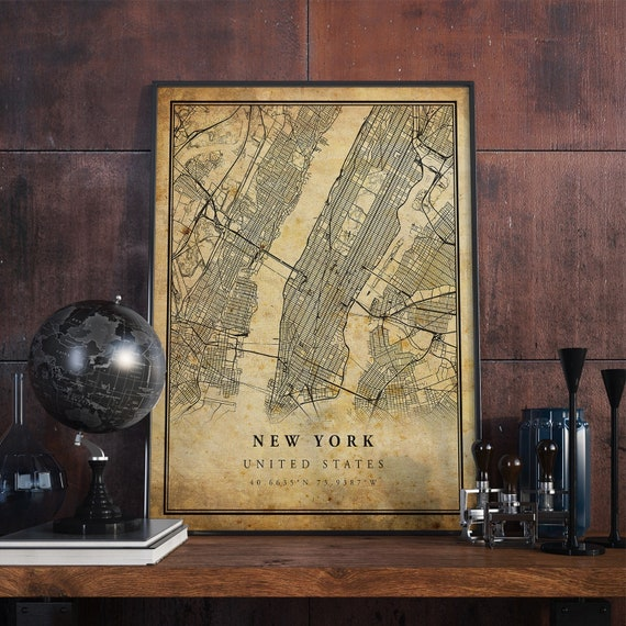 New York Vintage Map Poster Wall Art   City Artwork Print   Old antique style Home Decor   United States prints gift   VM1