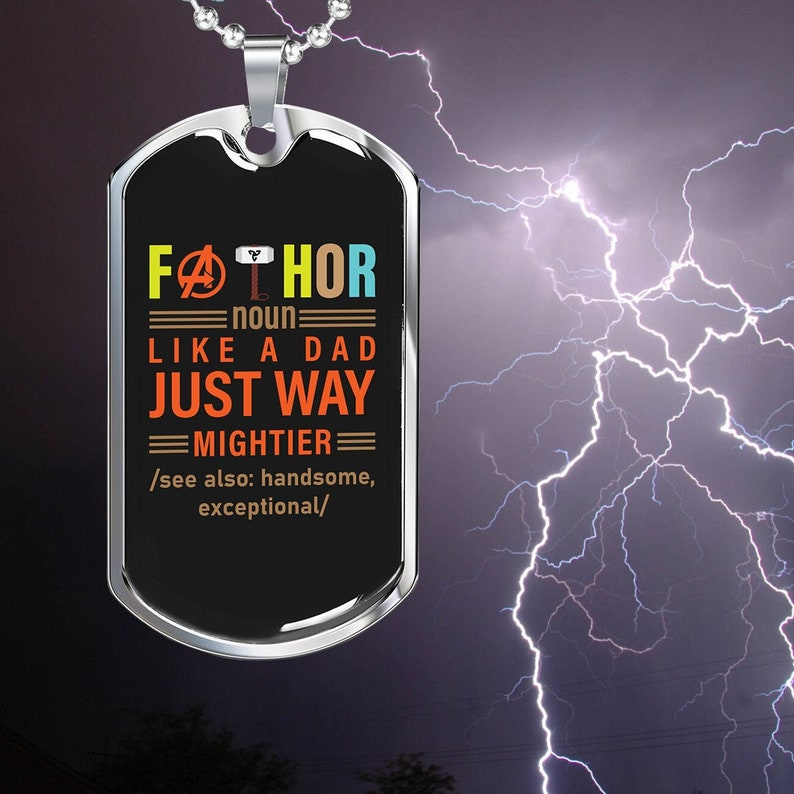 Military Dog Tag Custom Engraving On The Back FATHOR Dog Tag For Dads New Father Gift Father/'s Day Gift