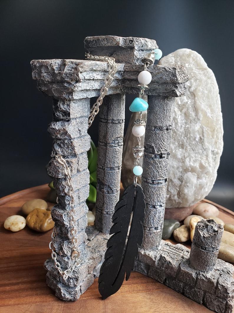 Chakra Healing Bohemian Handmade Long Statement Aqua Terra Jasper Stone Natural Howlite  Large Wooden Pendant On Silver Plated Flat Chain