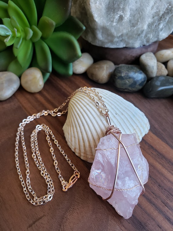 Gorgeous Large Raw Crystal Rose Quartz Rose Gold Wire Wrapped Stone On Rose Gold Plated Flat Cable Chain