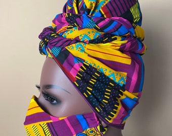 Ankara facemask and Headwrap set; African print face masks; Ankara headwrap ; African print headwrap
