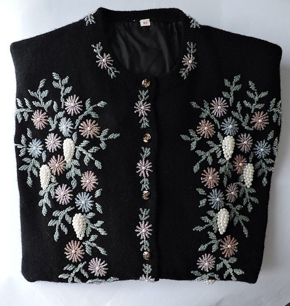 1950s Vintage Beaded Sweater Size Large