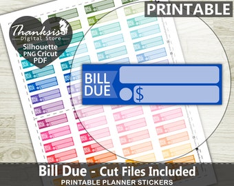70% OFF Sale Bill Due Printable Planner Stickers, Erin Condren Planner Stickers, Bill Due Printable Stickers - Cut Files