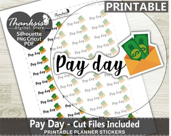 70% OFF Sale Pay Day Printable Planner Stickers, Erin Condren Planner Stickers, Pay Day Printable Stickers - Cut Files