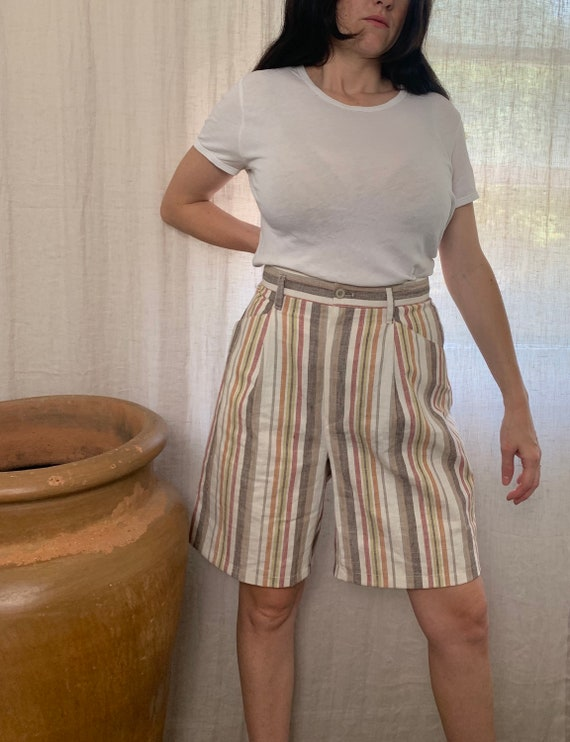 Vintage Striped Linen High-waist Shorts | earth to