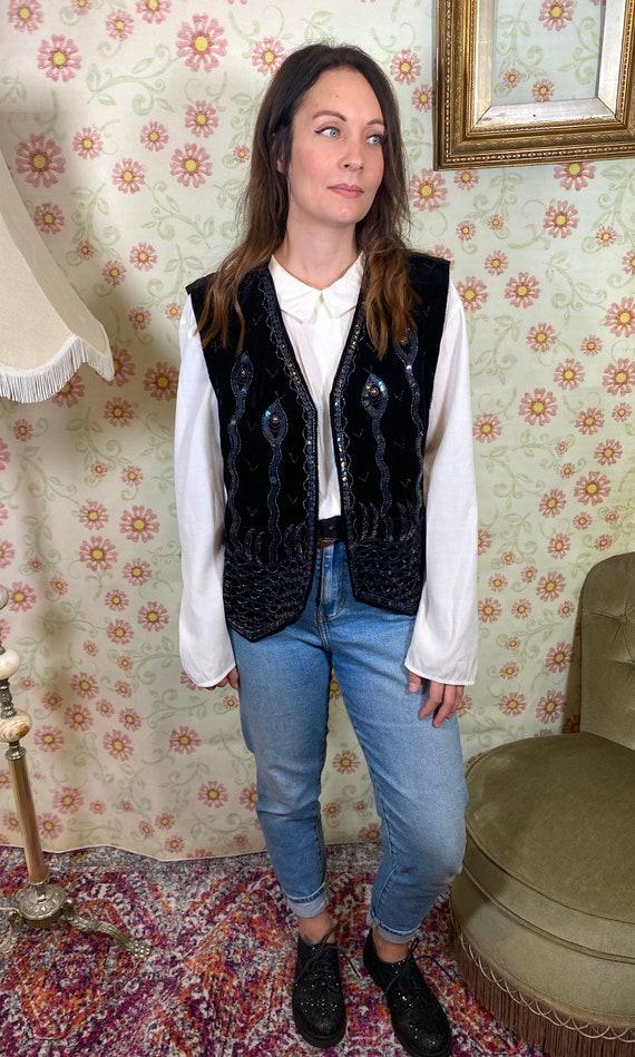 vintage velvet waistcoat black 90s waistcoat sequi