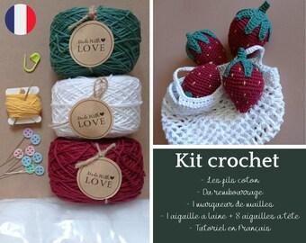 Kits crochet fruit Fraises avec Filet à provision. kit de fournitures créatives avec tutoriel. Pelotes cakes.
