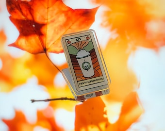 The Pumpkin Spice - Tarot Card Acrylic Pin // Graphic Design Witchy Halloween Pumpkin