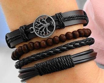 Black or Tan mens bracelet LEATHER S-hook gift for men.