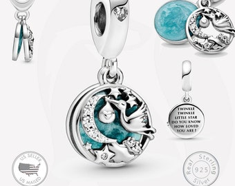 Sterling Silver 3-D STORK WITH BABY Charm Pendant Bird Nursery Newborn nfant Child Shower New Mom Pregnant .925 Sterling Silver New ba27