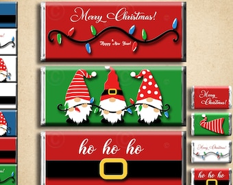 INSTANT DIGITAL Download Merry Christmas Chocolate Candy Bar Wrappers Unique Party Happy Holidays Season's Greetings Decor Gnomes FREE Minis