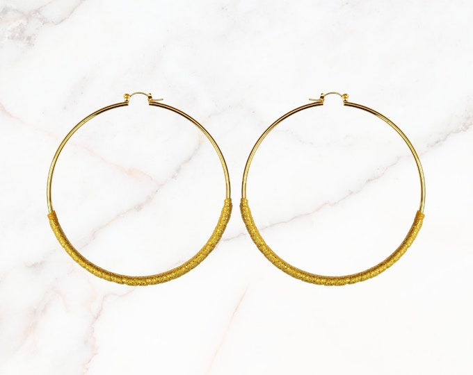 Super Skinny Hoop Earrings are Hand-Wrapped in Liquid Gold Fabric. Dress Them Up or Down. For Ladies That Love Thin Hoops. Hypoallergenic.