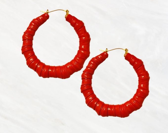 Candy Apple Red Patent Leather Hoops are a Must Have. Be the Lady in Red with These Hoops. Perfect with Any Color!