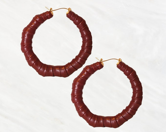 """Mahagony """"Fire"""" Bamboo Style Hoops are Beloved and Timeless. Hand-Wrapped in a Faux Leather Fabric and Created For The Elegant Woman."""