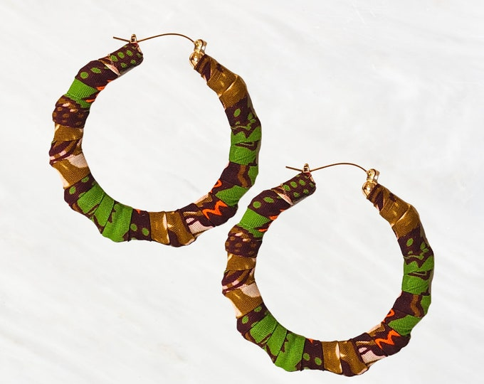Ankara Earrings in Mostly Greens and Browns are Such a Great Way To Dress Up or Down Any Outfit. Hoops To Add the Right Color to Your Day.