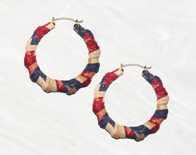 Red, White & Blue Hoop Earring. The Perfect Accessory for your Memorial Day, July 4th, or Labor Day BBQ.