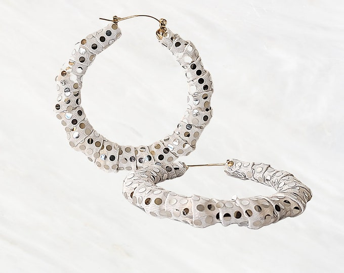 Hand-Wrapped Bamboo Style White Hoops With Speckled Dazzling Silver, Mirror Effect. Sequins That Add Style To Your Ear-spiration -Party Time