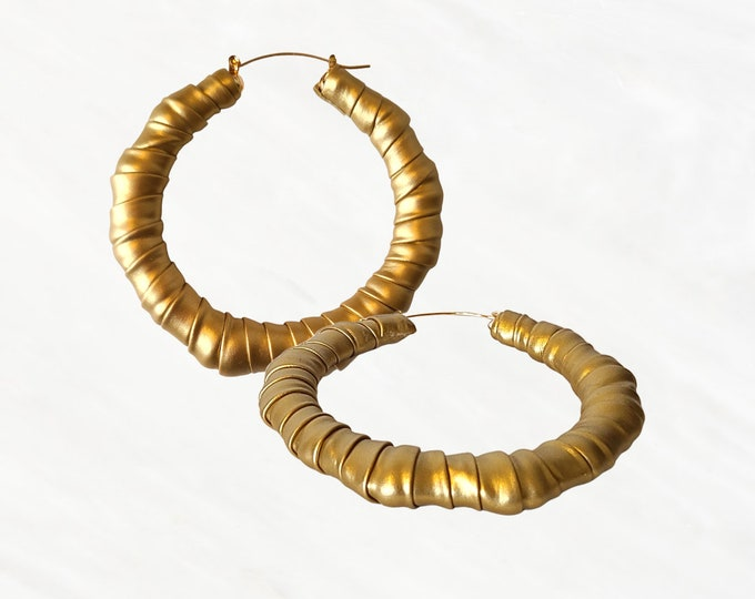 Gold Faux Leather Hoop Bamboo Earrings, Limited Edition Statement Pair That Add The Final Touch To Any Outfit. Serious Ear Candy!
