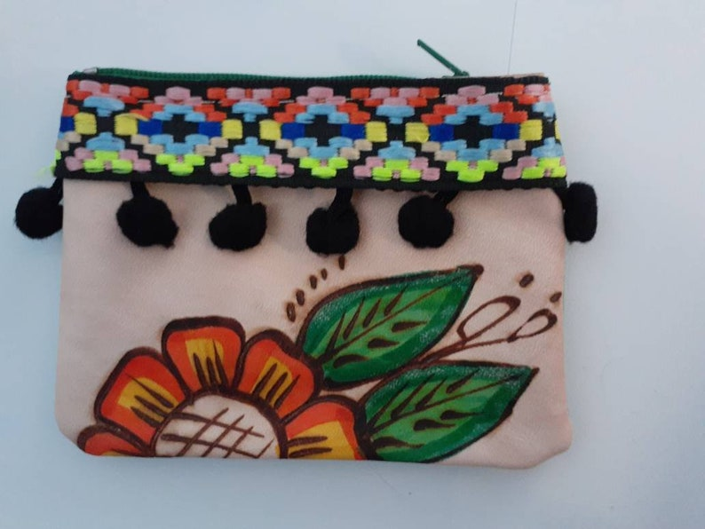 Coin Purse Colorfu End of the Year Sale Coin Pouch Leather coin Pouch Colorful Coin bag Purse Handpainted Leather Coin Bag Mexican coin