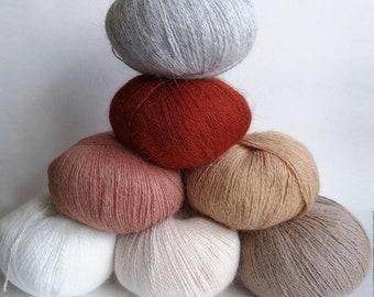 Angora yarn, rabbit yarn, hand knitting yarn, angora on skein, fluff yarn, 50 g