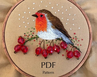 Christmas Robin PDF Embroidery Pattern, Embroidery art hoop, embroidery hoop