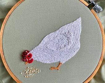 Little Hen, Chicken, PDF Pattern, Embroidery Pattern, cottagecore