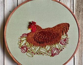 Sage and Onion, Chicken, PDF Pattern, Embroidery Pattern, Cottagecore