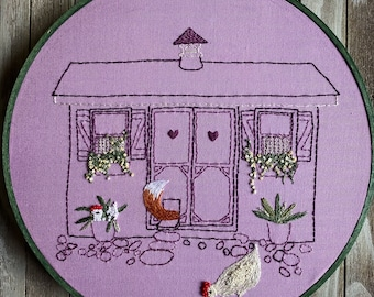 Fox in the Hen House, PDF Pattern, Embroidery Pattern, chickens, fox, hand embroidery, cottage core