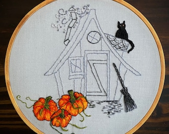 OOAK, Unique, Hand Embroidery, Embroidery Hoop Art, Halloween, Witch, House, Pumpkins, Cottagecore,