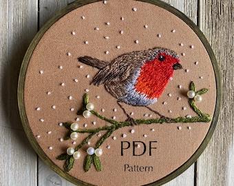 Christmas Robin, Mistletoe, PDF Embroidery Pattern, Embroidery art hoop, embroidery hoop