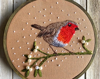 OOAK, Unique, Hand Embroidery, Embroidery Hoop Art, Robin, Christmas, berries,