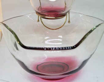 Glass Bowls Vintage Pair Serving Mid Century Chip N Dip Elegant Buffet Wedding Showers Clear Arches Cross Petal Federal Glassware Set of 2