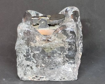 Vintage Heavy Glass Cube Table Lighter Paperweight