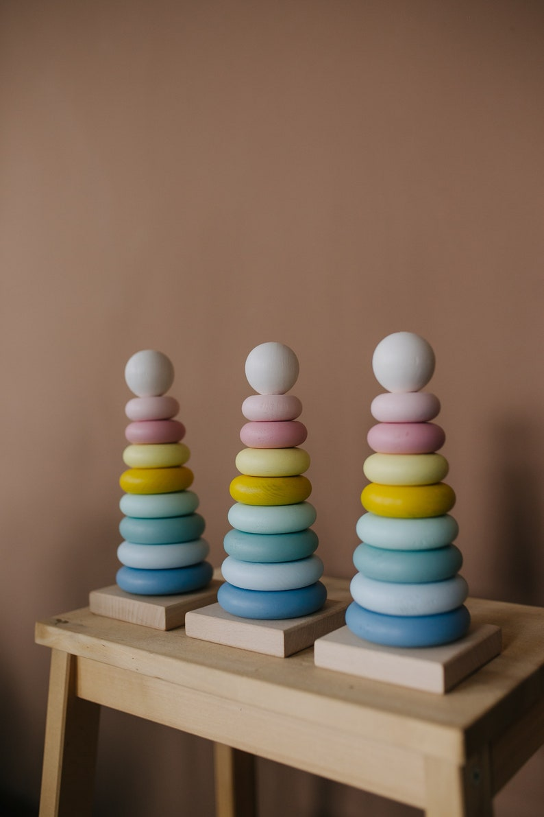 Stacker Stacking toy pastel Montessori toy for baby Toddler wooden toy Ring wooden color