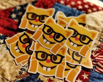Nerd Cat Mashup Emoji Vinyl Stickers For Laptop Phone Bottle