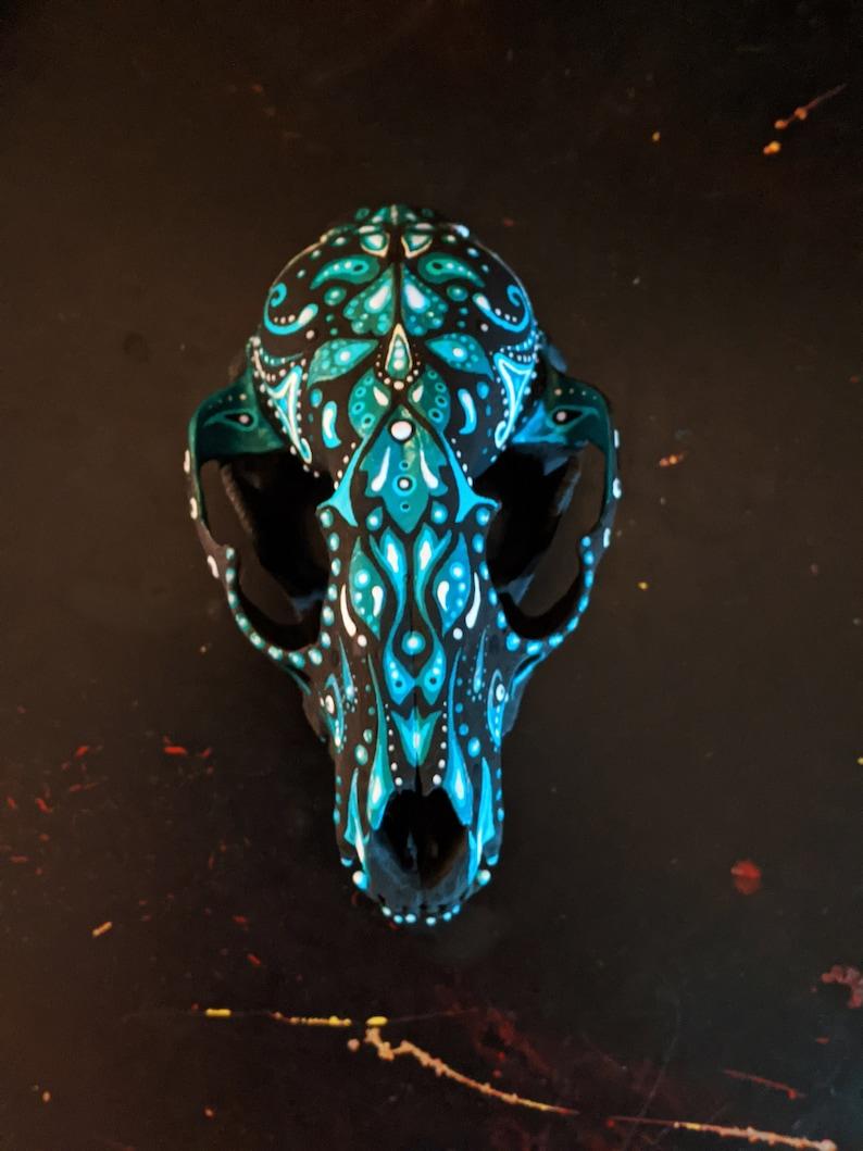 Blue glow-in-the-dark Hand Painted Racoon Skull OOAK image 0