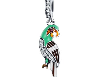 Authentic Sterling 925 Tropical Perroquet Turquoise /& Vert Clair Zircone cubique Dangle Charm Beads