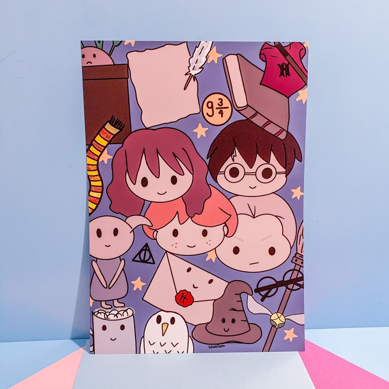 Harry potter  Kawaii art  Illustrated  Art print  Pastel image 0