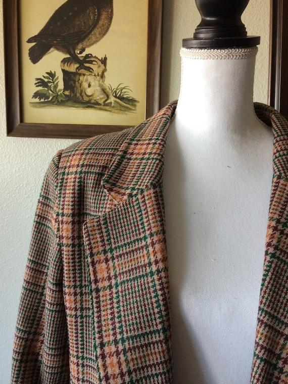 1990s plaid wool blazer, unisex menswear, work wea
