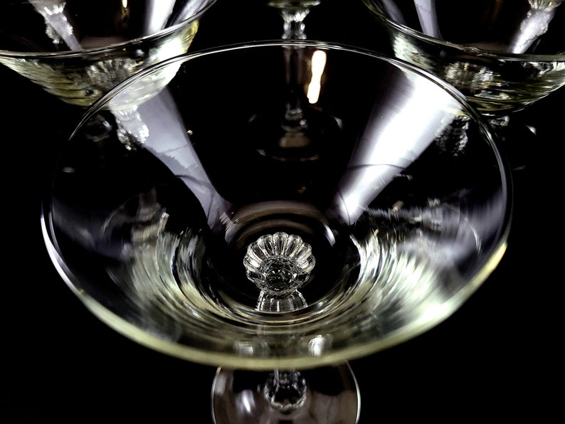Beautiful Plain Imperial Glass Champagne Goblets Stem # 470 Set of 6