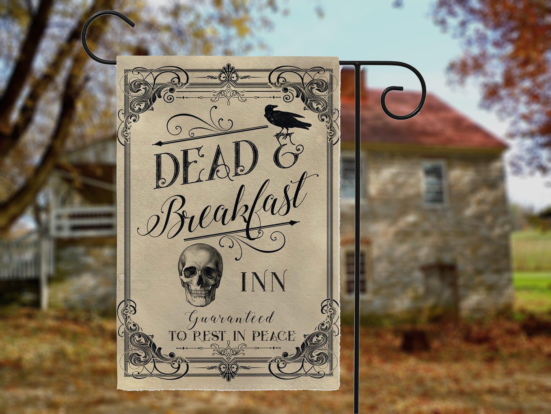 Halloween Garden Flag, Dead And Breakfast Inn, Whimsical Halloween Decor