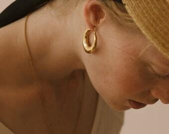Large Gold Tone Earrings Vintage Half Hoop Deep Rib Pierced