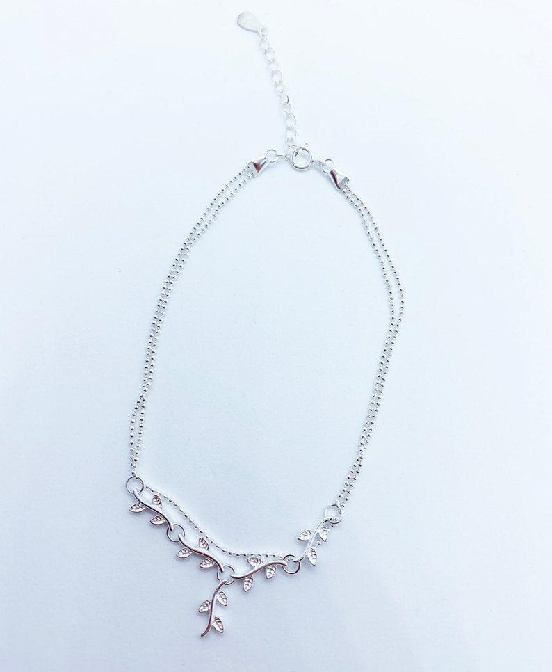 Leaf Vine Bead Chain Anklet Sterling Silver Leaf Vine Bead Chain Anklet Anklet Jewelry For Women. Dainty Leaf Vine Bead Chain Anklet