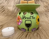 Breathe Tealight holder Flower Wax warmer Pretty Candles Valentine s Day gifts for her under 10 Candle wax candle lover gifts