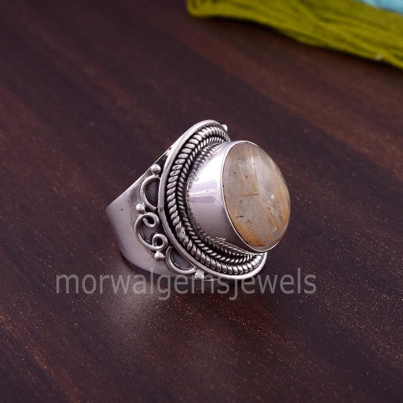 925 Silver Ring Fidget Ring Everyday Ring. Golden Rutile Gemstone Yellow Rutile Ring Golden Rutile Ring Women Ring Bohemian Ring